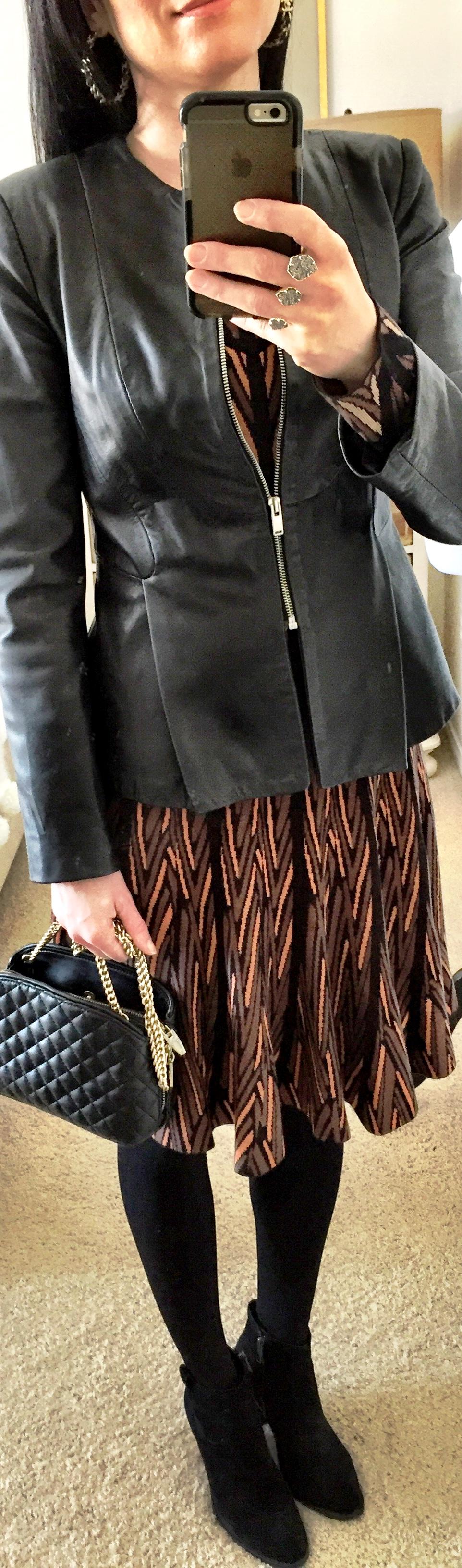 January 28, BCBG Knit dress with Leather Peplum Jacket
