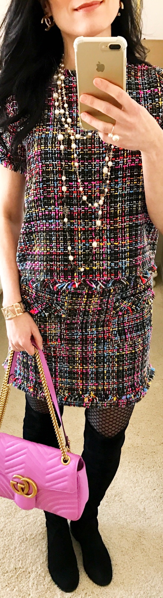 February 14th Tweed Top and Skirt by Zara with Gucci Marmont Pink Bag and Chanel Pearls