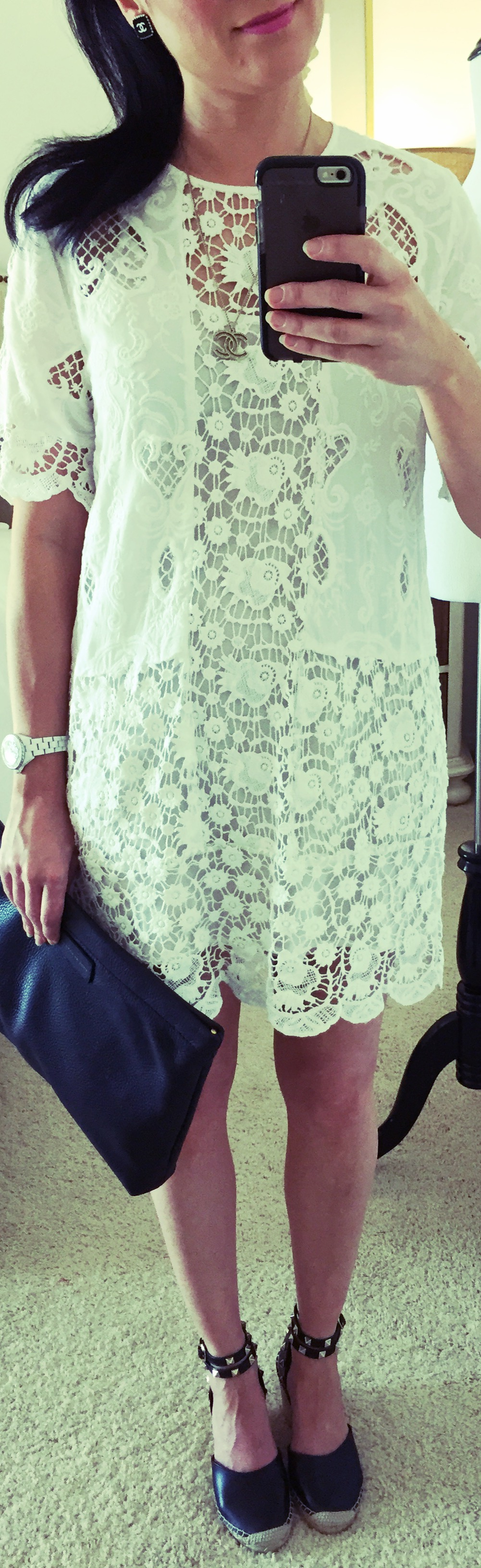 July 30, Staying cool in lace dress by Zara