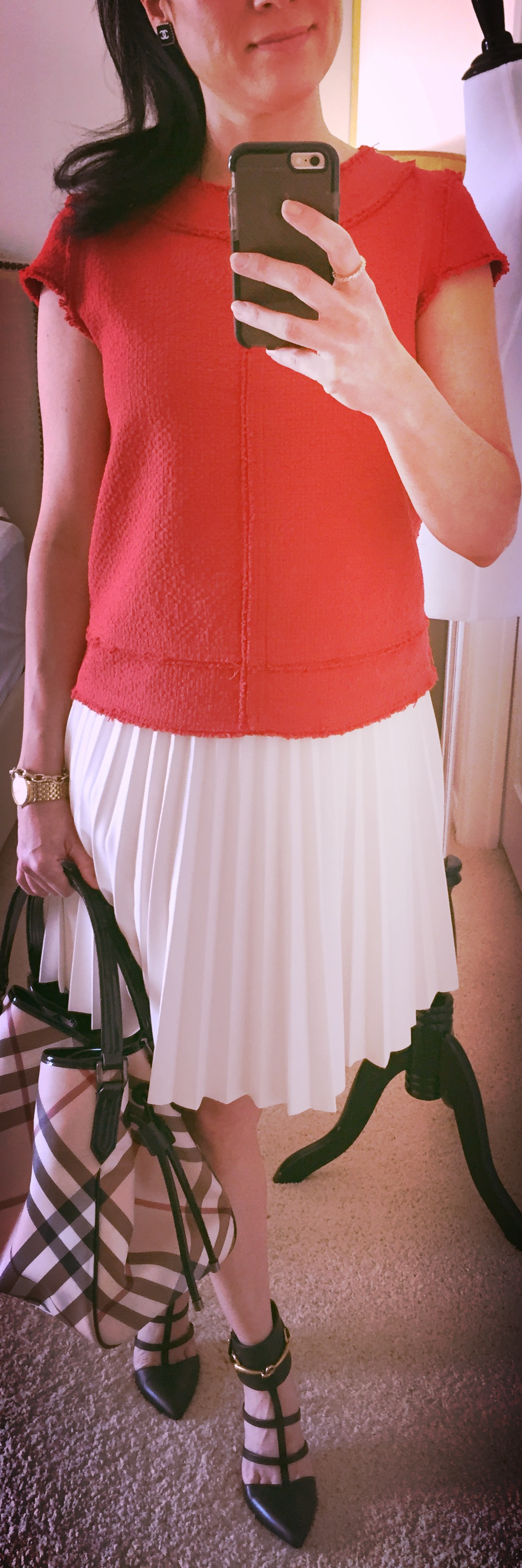 August 3, Faux Leather Pleated Skirt , Burberry Tote and Gucci Caged Heels