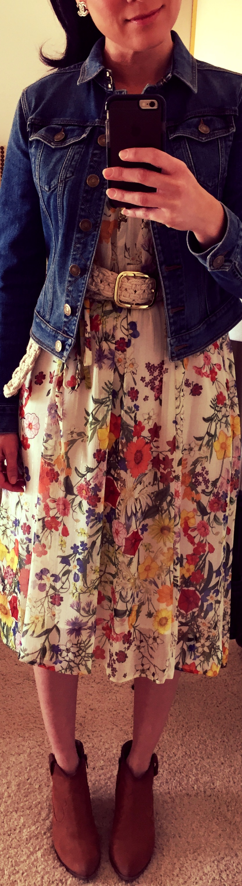 Wearing August 4, Floral Zara dress with Burberry Denim Jacket