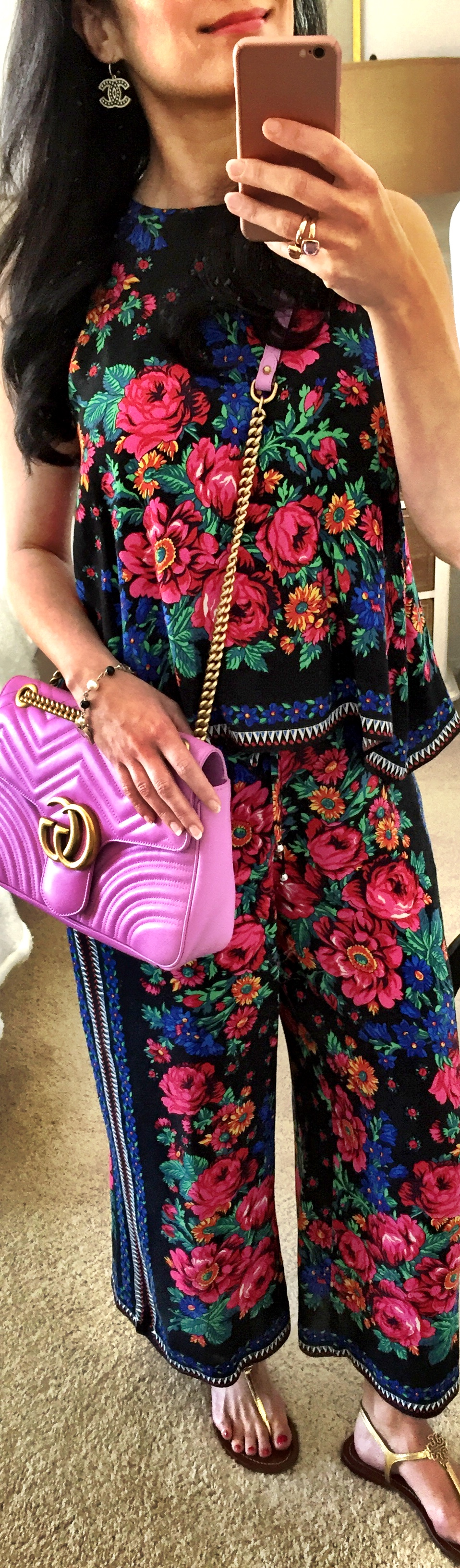 August 15th Floral Culottes and Gucci Marmont bag in pink