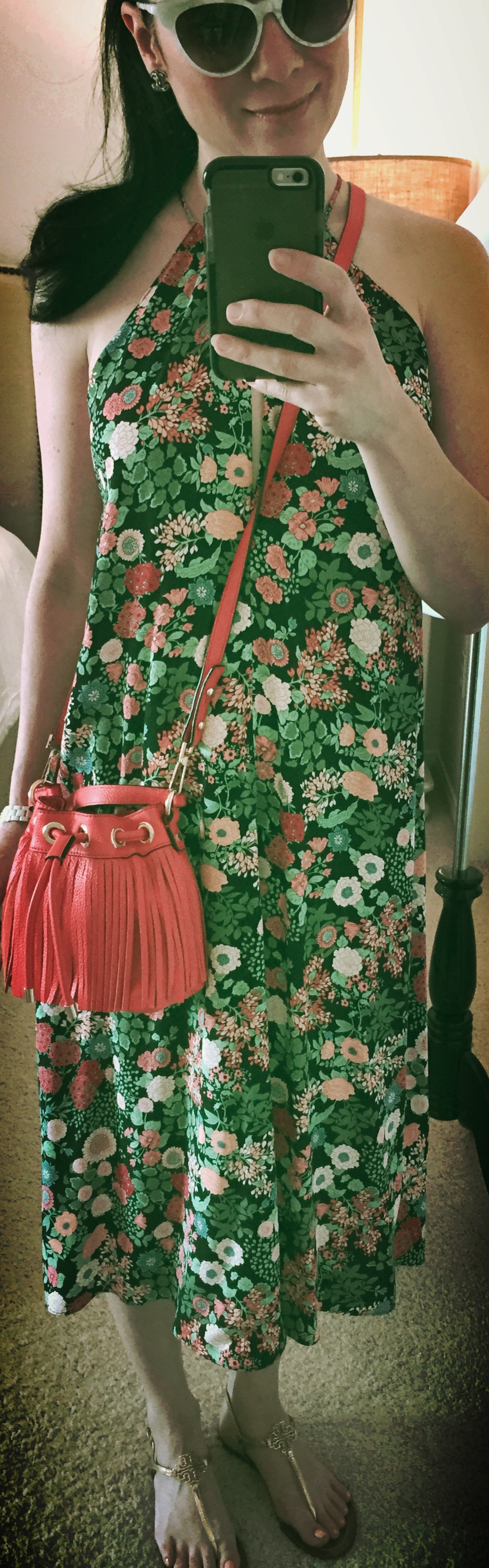 August 16th, Sunday Brunch in Floral and Tory Burch sandals