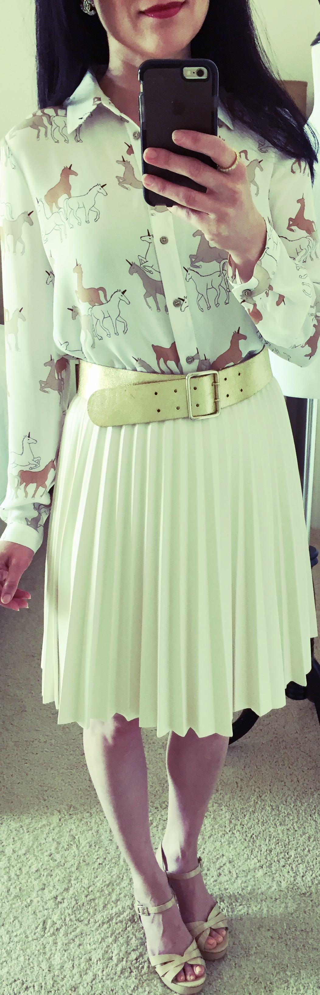August 19th, Feeling special in Zara Unicorn Blouse and pleated faux leather skirt