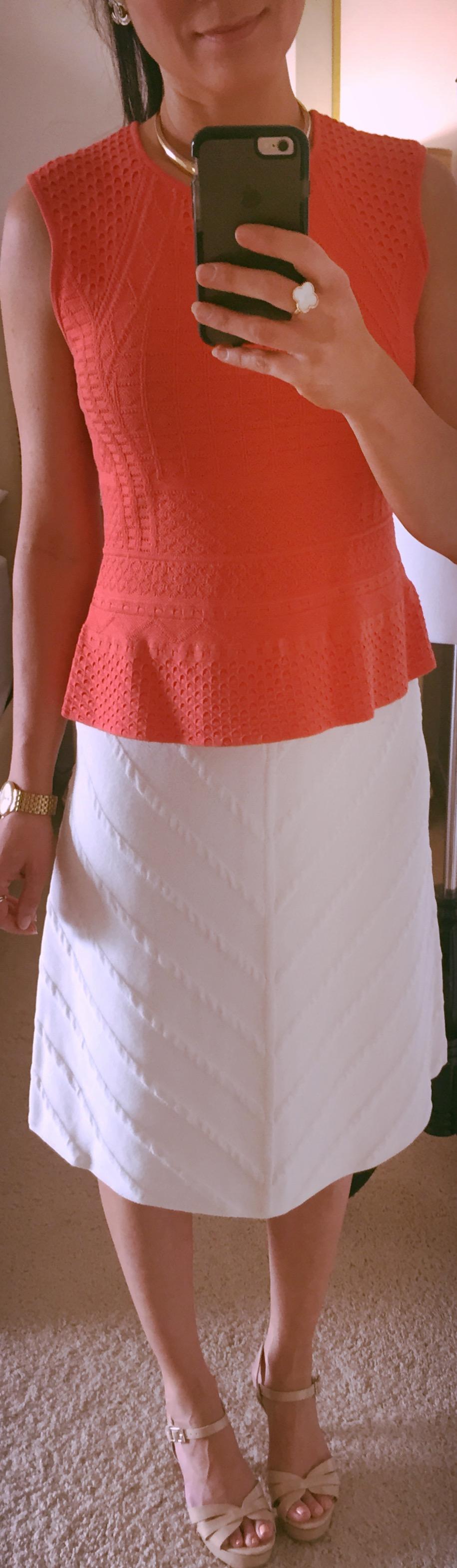 August 31, BCBG peplum top with Zara knit skirt