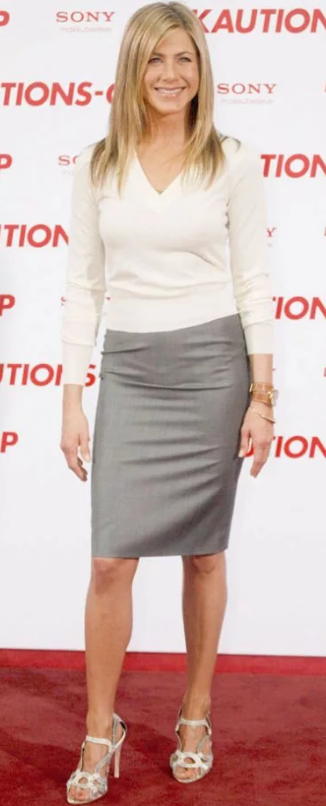 Jennifer Aniston Pencil Skirt and Cream Sweater