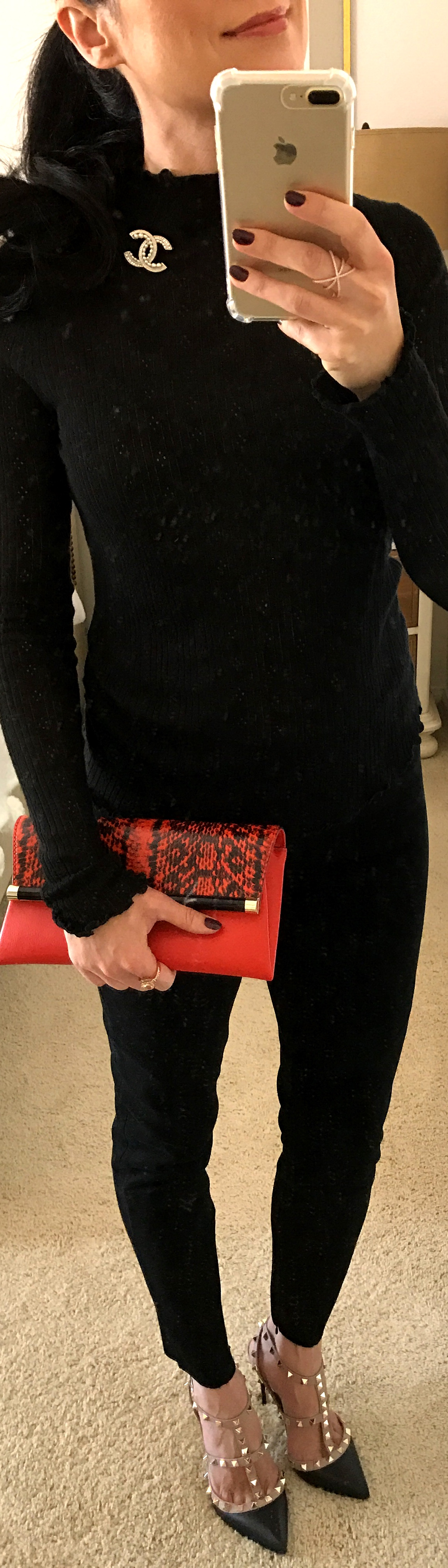 October 18th Faux Suede Trousers by Zara, Clutch by DVF and CHANEL Broach