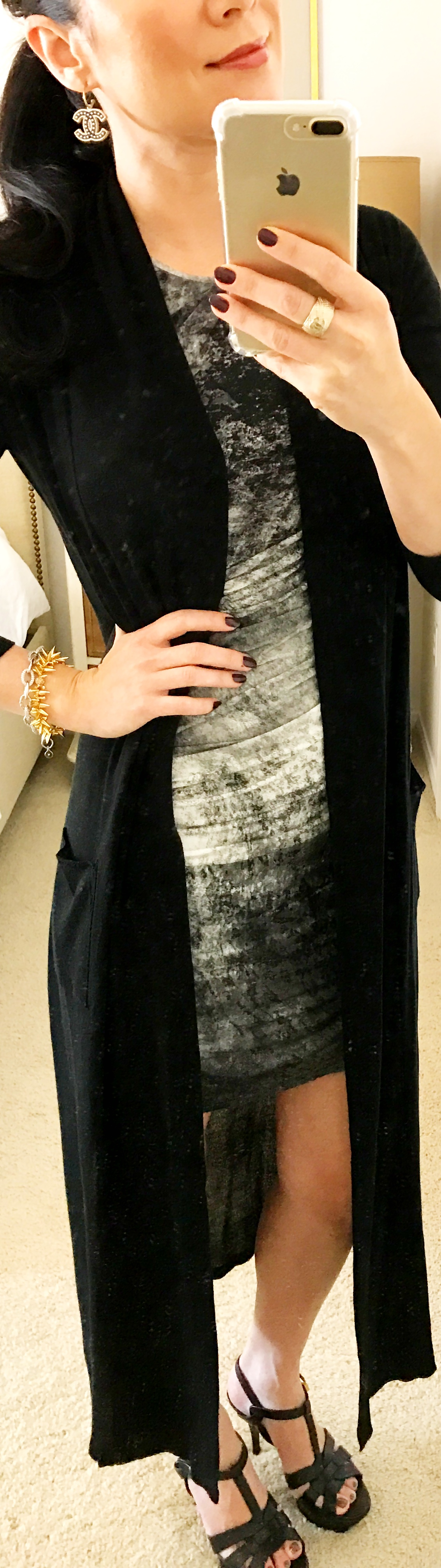 October 19th Helmut Lang Dress with Zara Duster