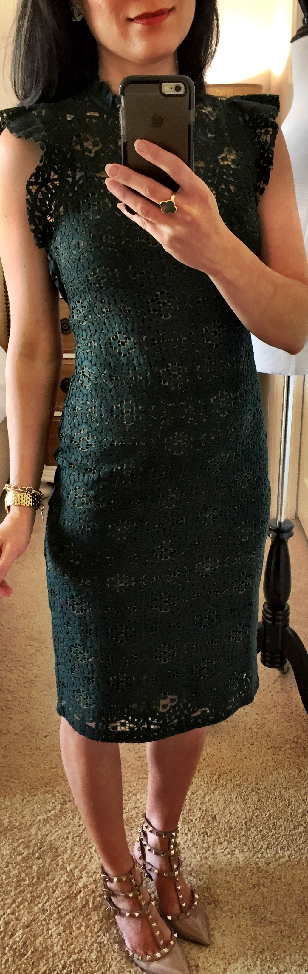 October 21, Green Lace Dress