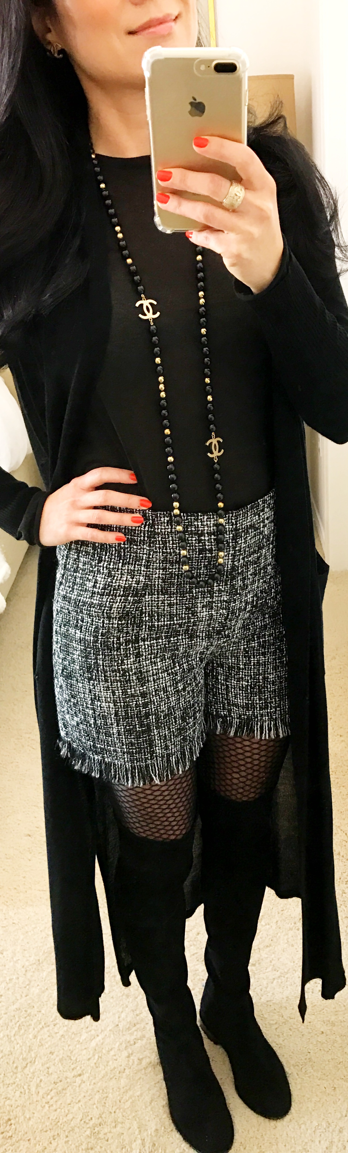 November 2, Zara Woven Shorts Stuart Weitzman Thighscraper Boots Zara Duster and CHANEL Beaded Necklace
