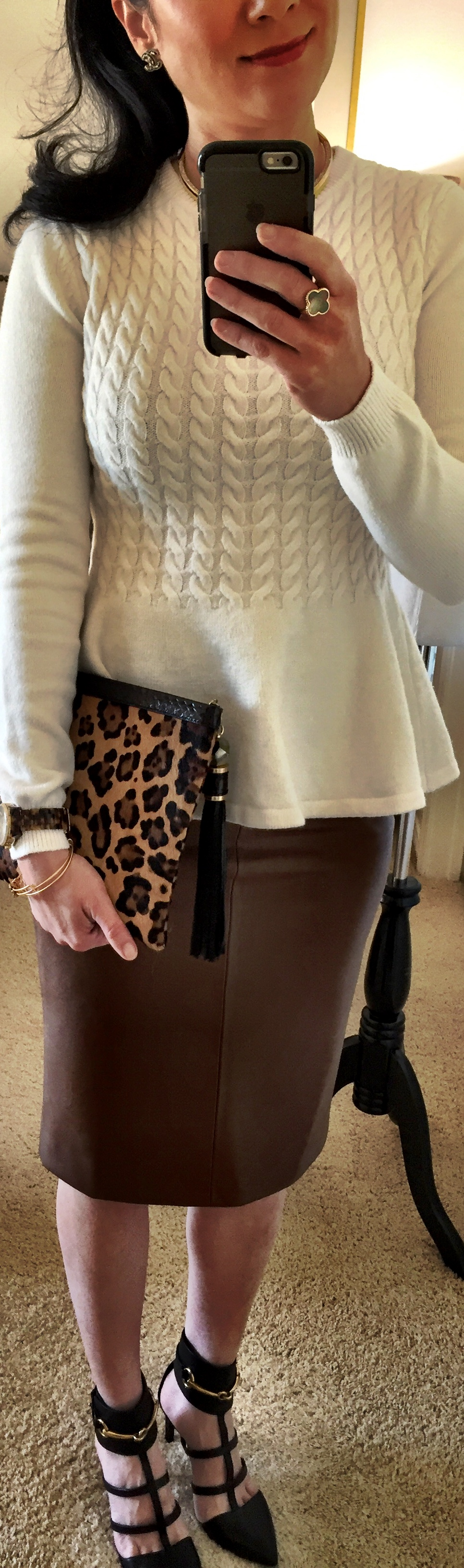 November 10, Ted Baker Peplum Sweater and faux Leather Skirt by Zara