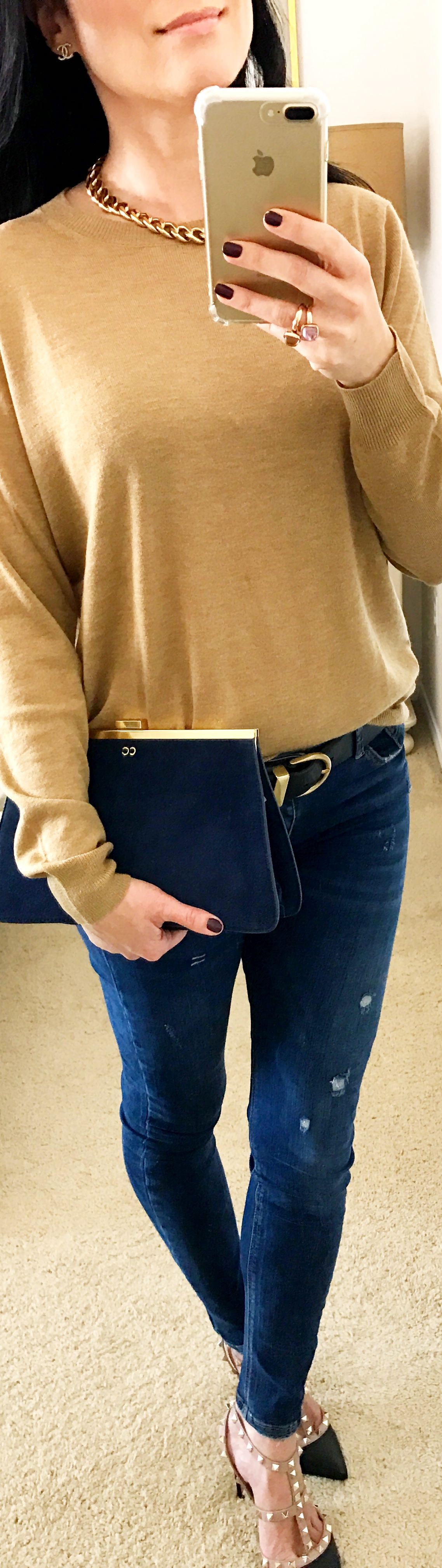 November 16th Zara Sweater Valentino Rockstuds with Blue Suede Clutch