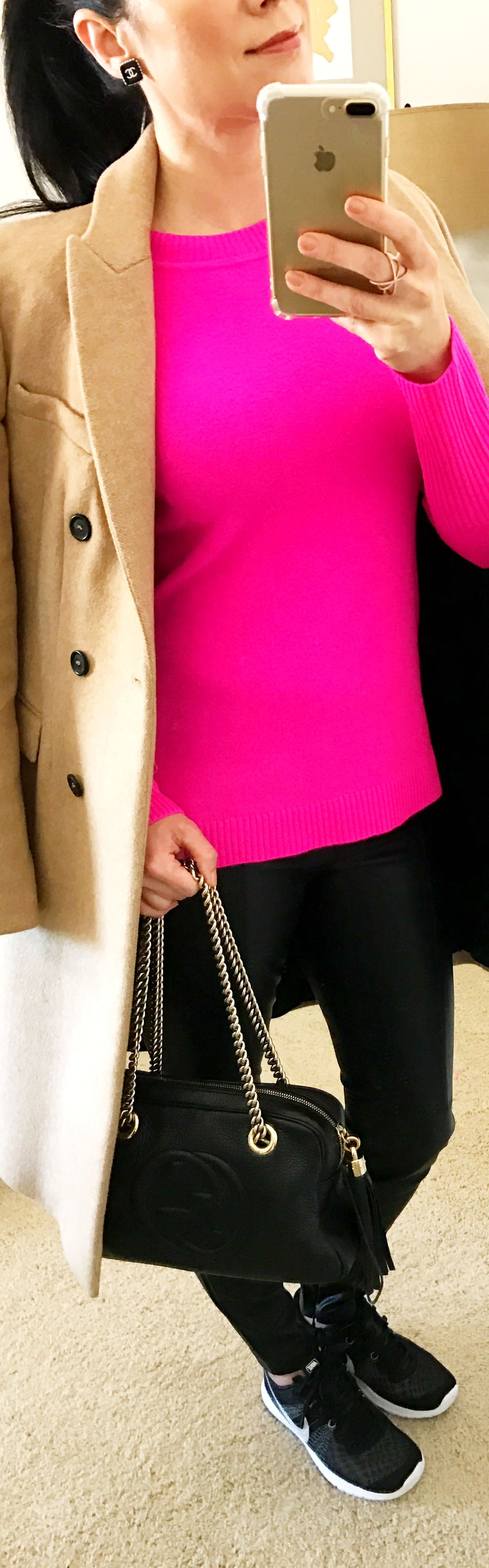 December 2, Cashmere Hot Pink Sweater with Faux Leather Pants and Nikes
