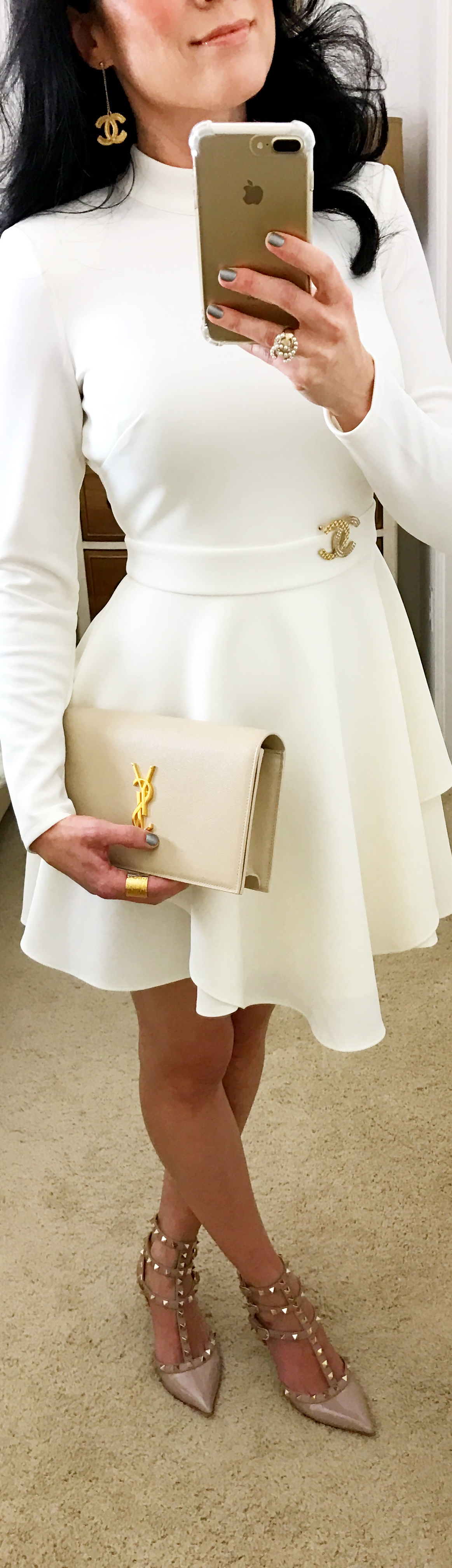 December 12, Holiday Party White Scuba Dress by BeBe with Valentino Rockstuds and YSL Clutch