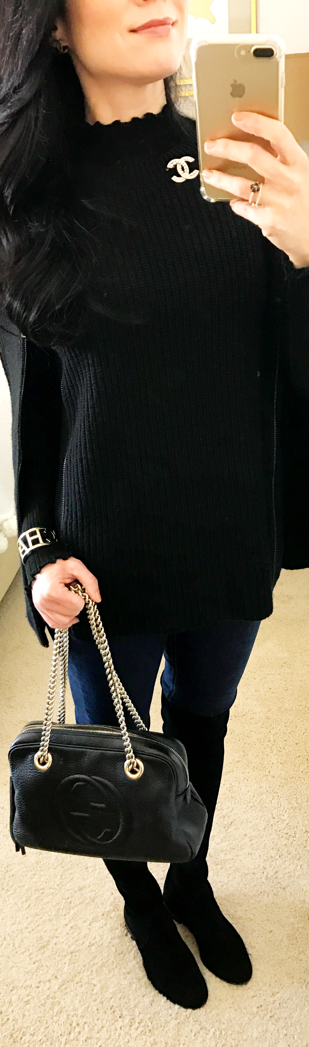 December 18th BCBG Sweater Cape with Stuart Weitzman Tall Boots and CHANEL broach