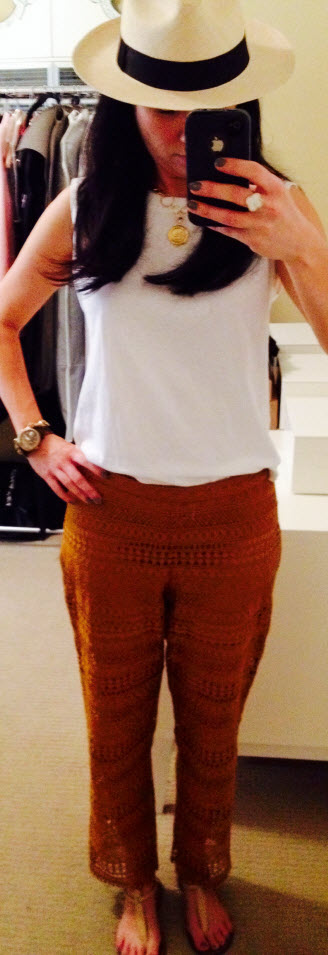 Aug 16, Crochet Pants and Panama Hat by J.Crew