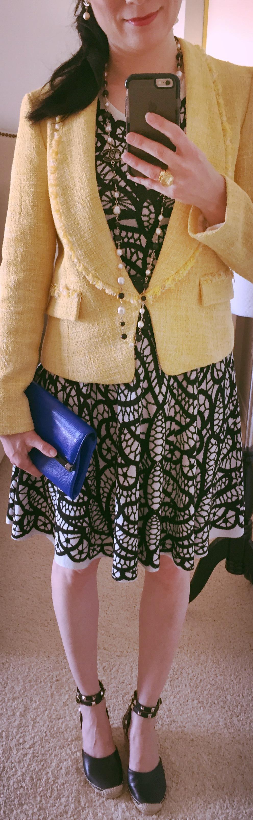 Wearing July 14, BCBG knit and woven blazer by Zara