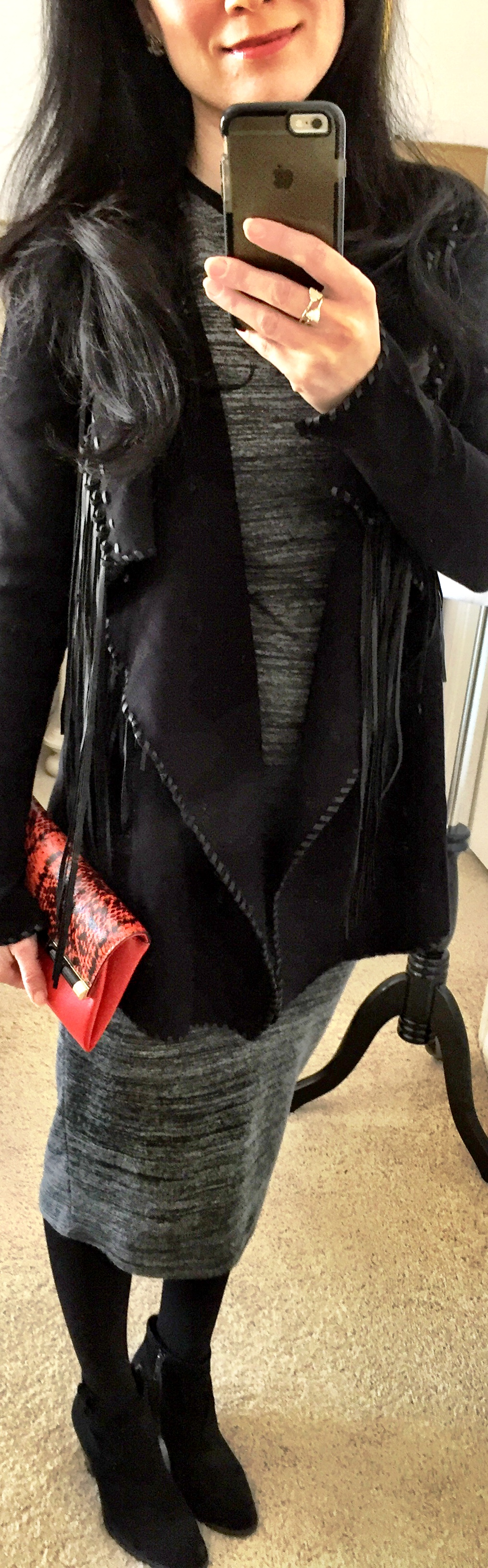 February 2, Tee Shirt Dress with Fringe Knit Jacket. Clutch by DVF