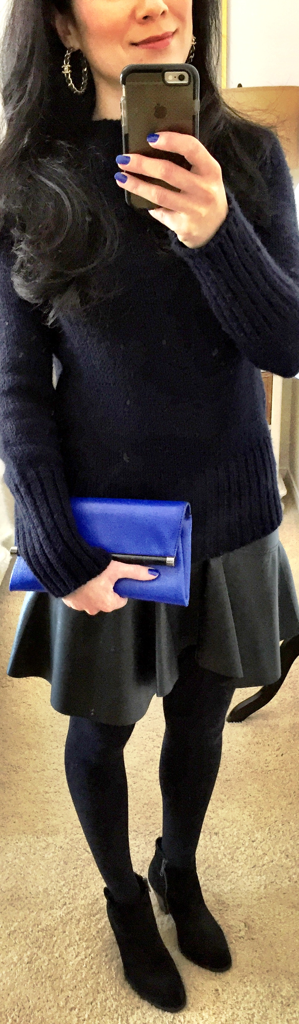 February 4, Leather Skirt with Navy Sweater