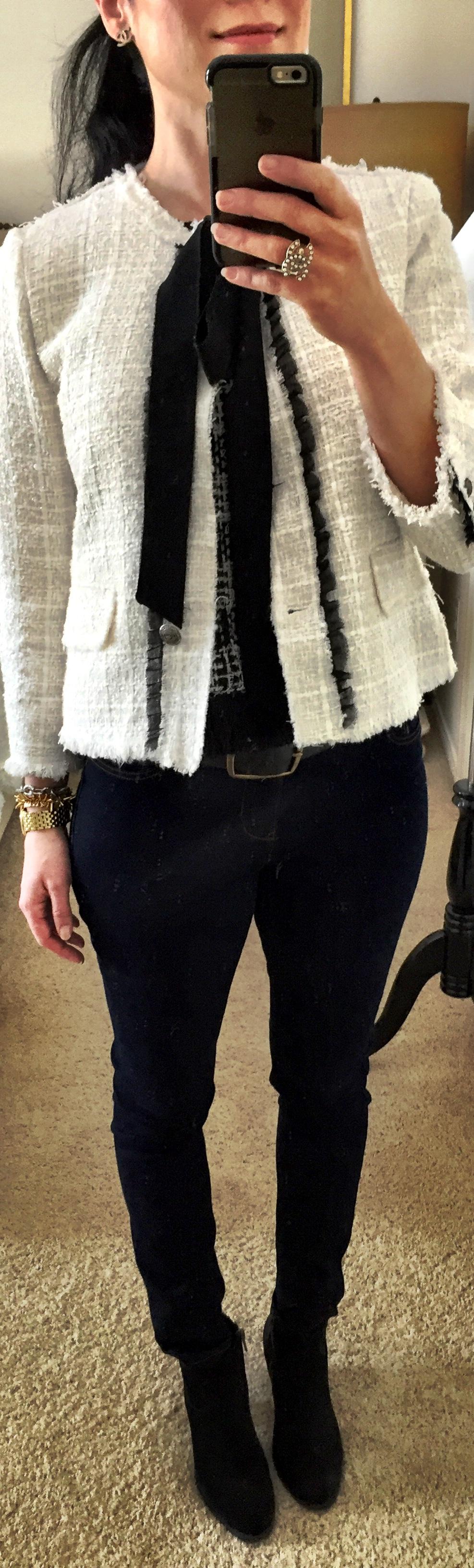 March 4th Zara woven Jacket inspired by Chanel with dark denim