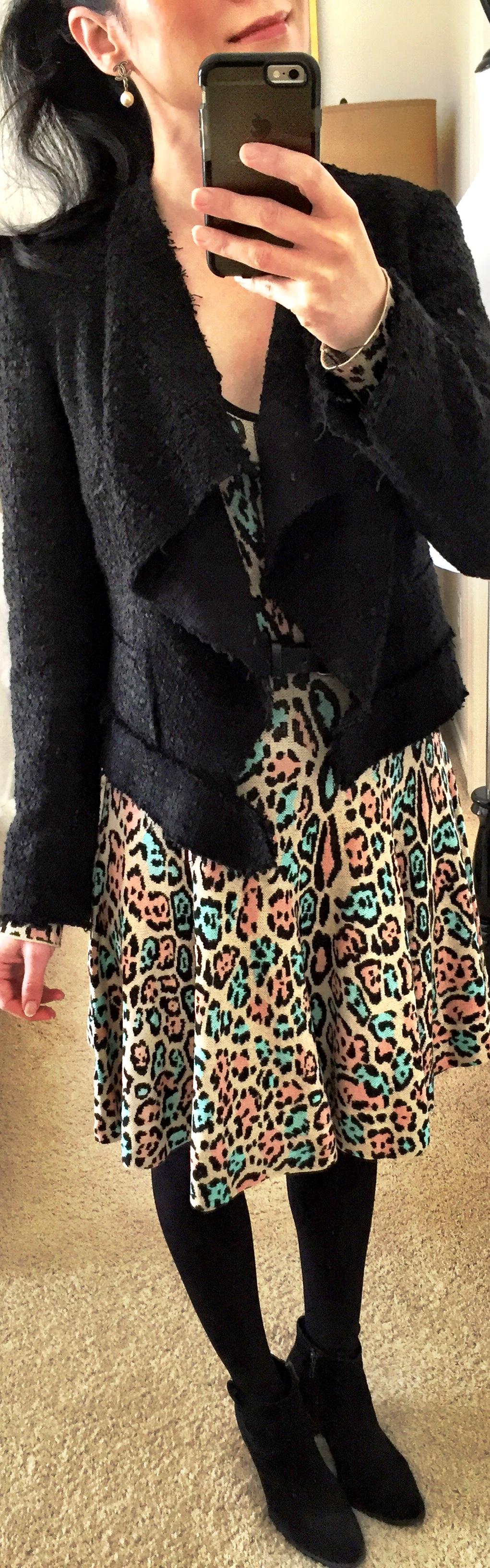 March 29th, BCBG knit dress with woven biker jacket by Zara