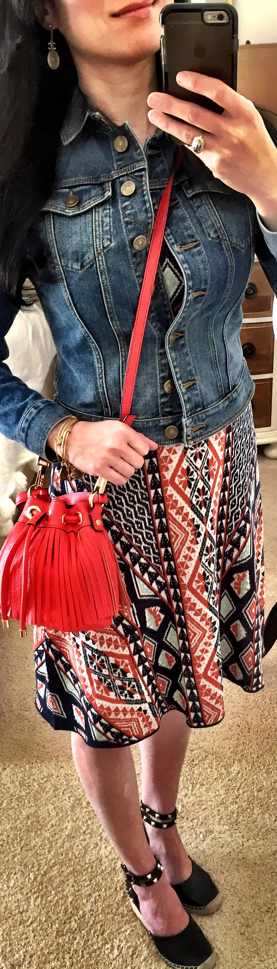 April 20th, BCBG knit dress with Burberry Brit denim jacket
