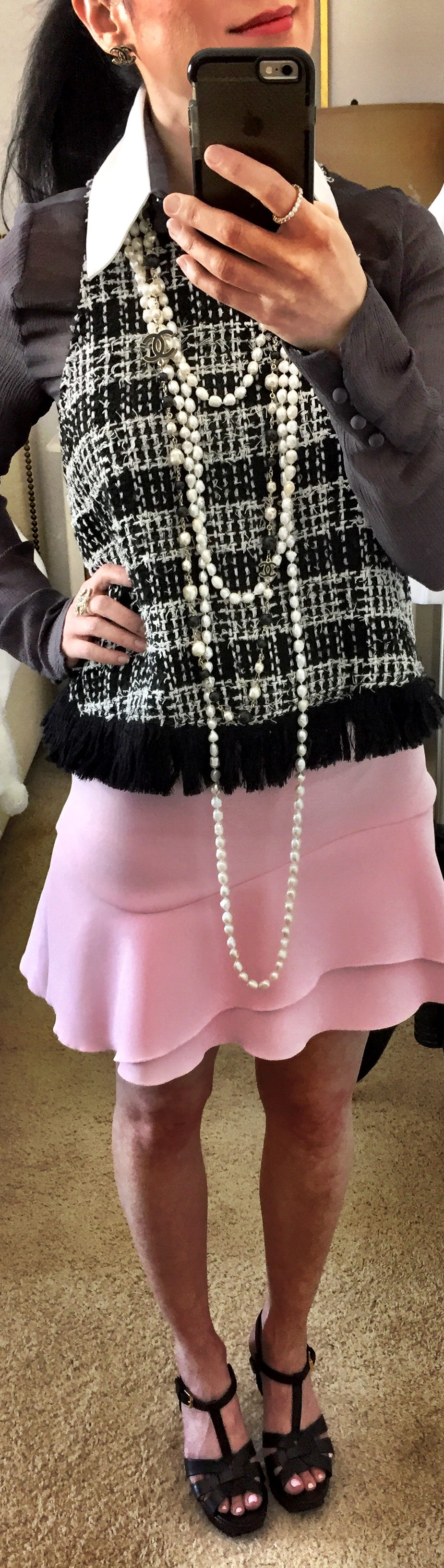 April 21st, inspired by CHANEL this skirt and top are by Zara and blouse by Karl Lagerfeld