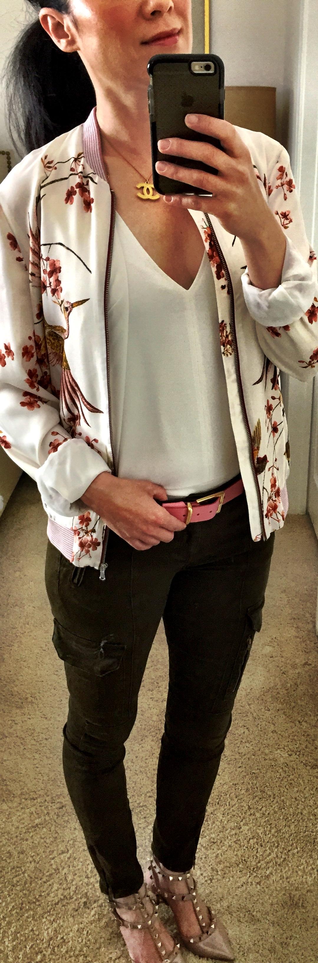 May 24th, 2016 Cargo skinny pants with bird bomber jacket from Zara