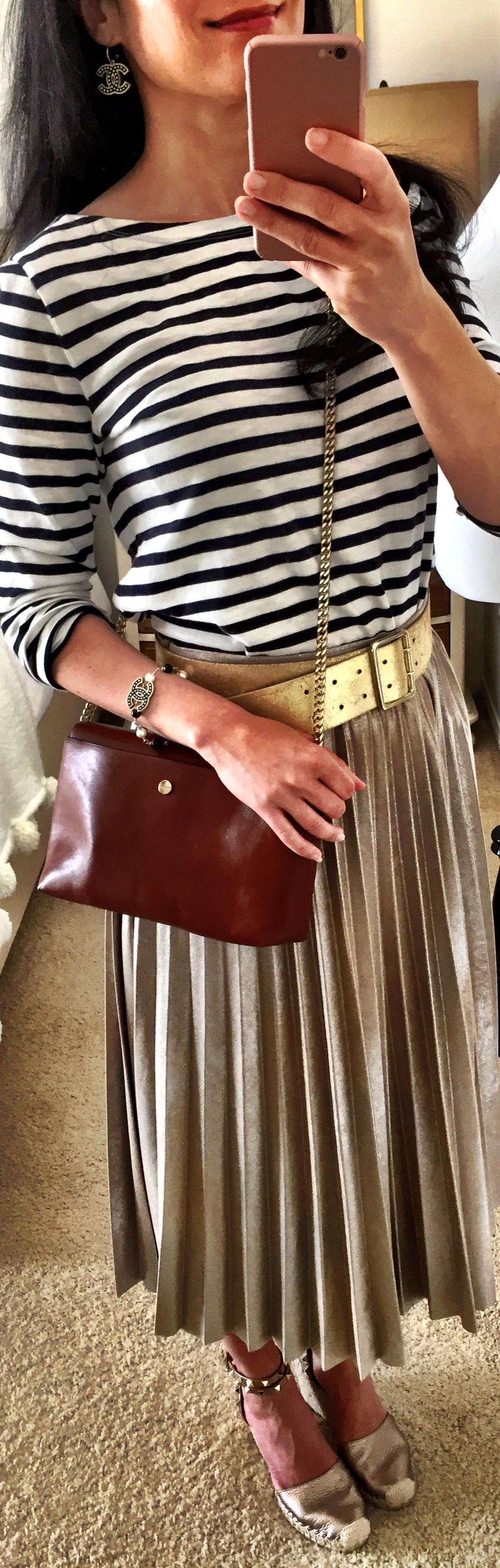 June 21, Midi metallic skirt with striped tee J.Crew