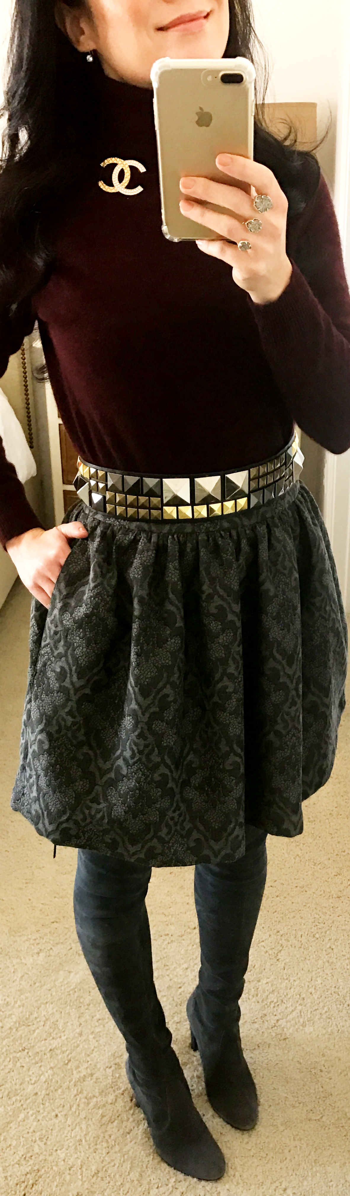 November 29, Zara skirt with BCBG belt and Stuart Weitzman Highlander Boots in Grey