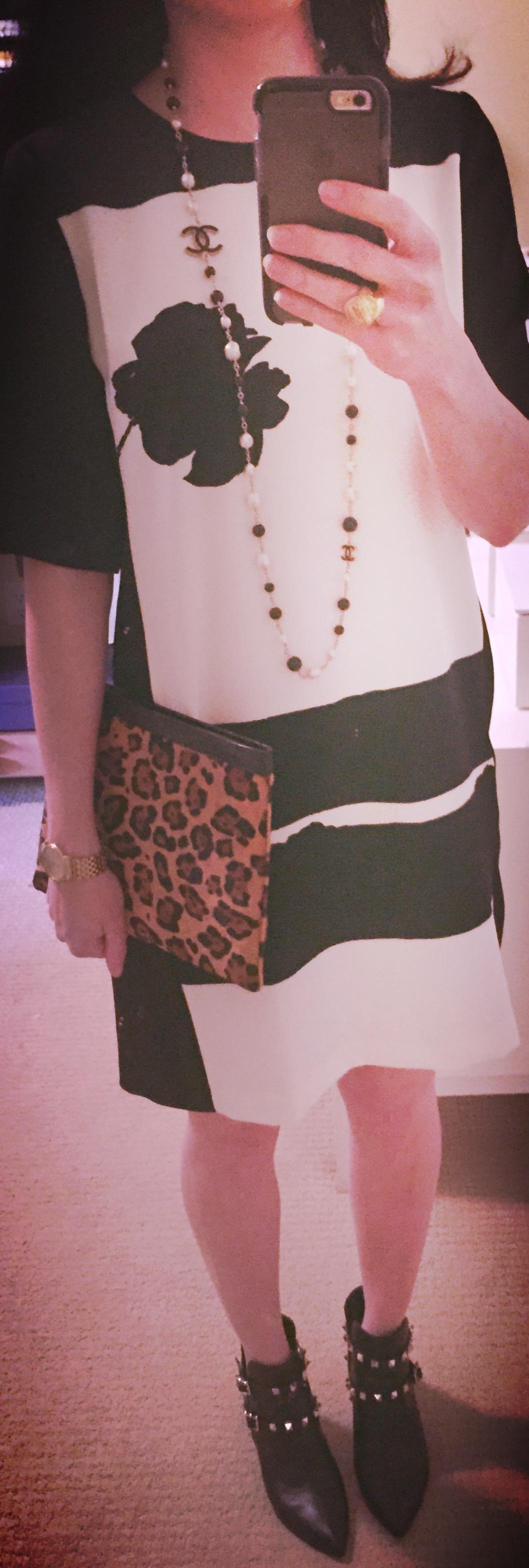 Jan 6, Zara Shift Dress with Valentino Booties