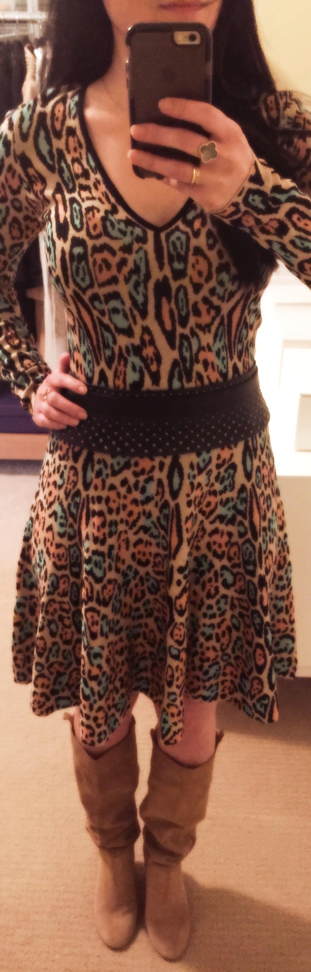 Jan 7, BCBG Colorful Leopard Print Knit Dress