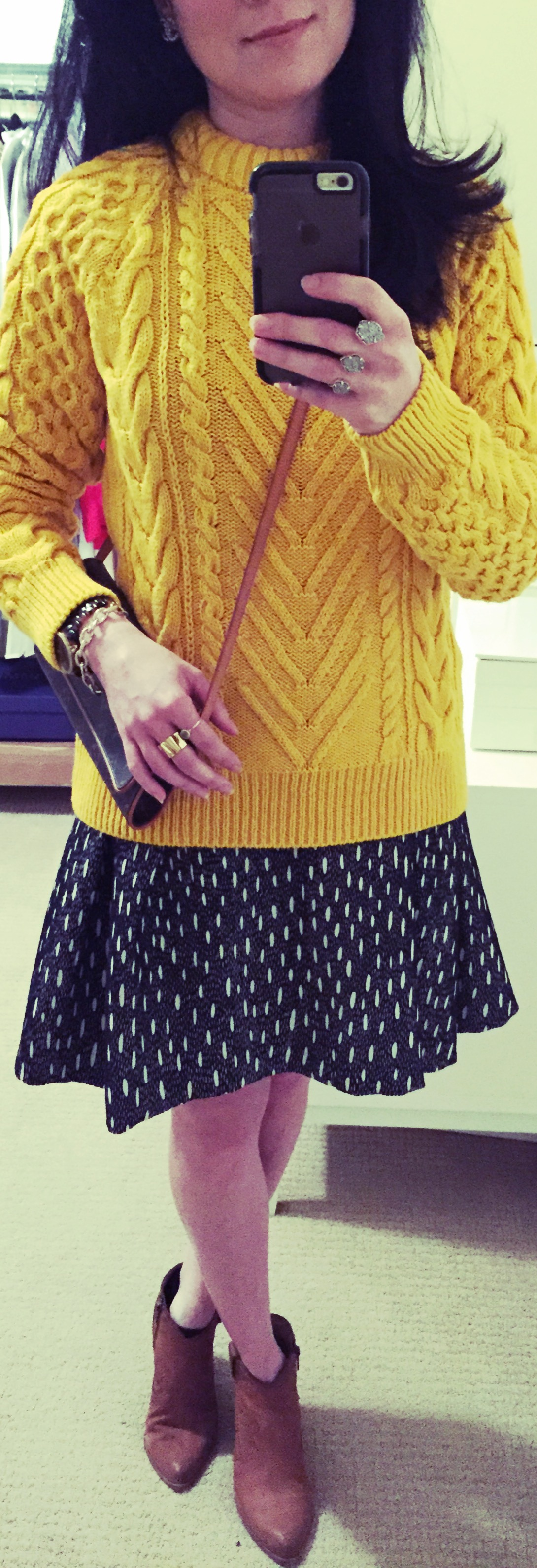 Jan 9, Cable Knit Sweater over Dress by Zara