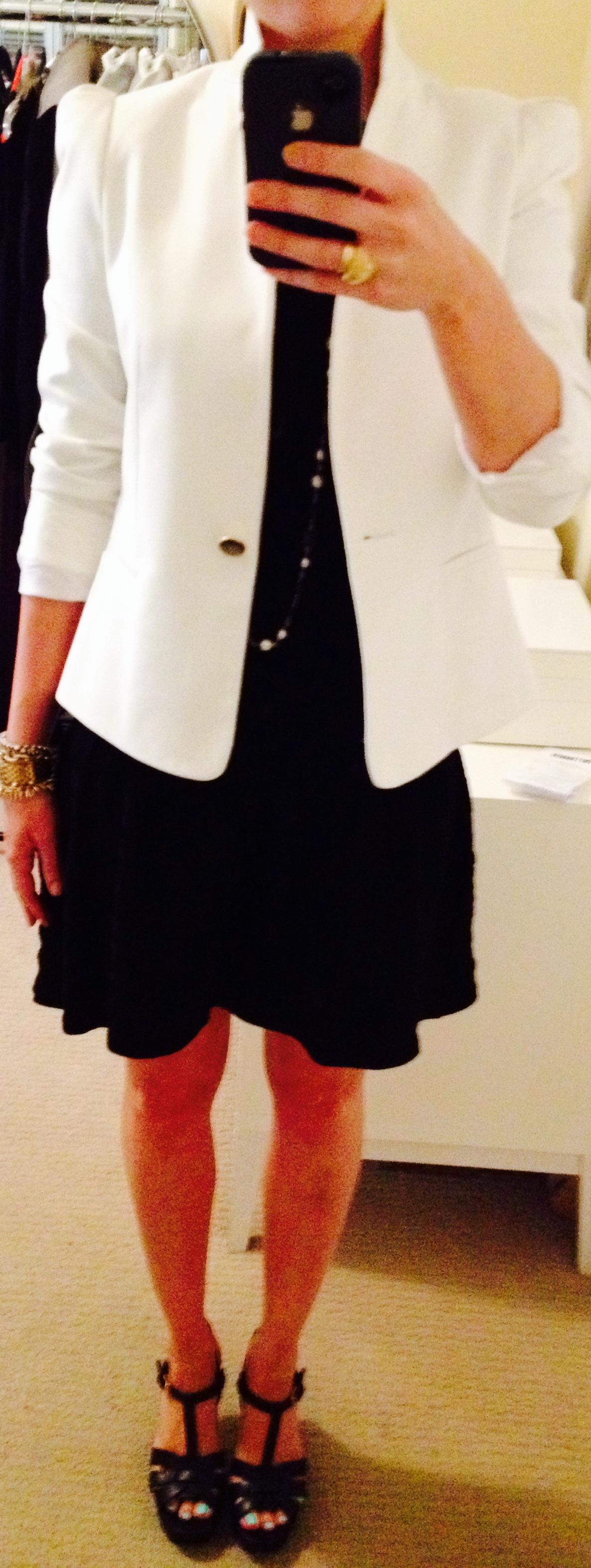 July 29, White Blazer over Black Knit Dress by Zara