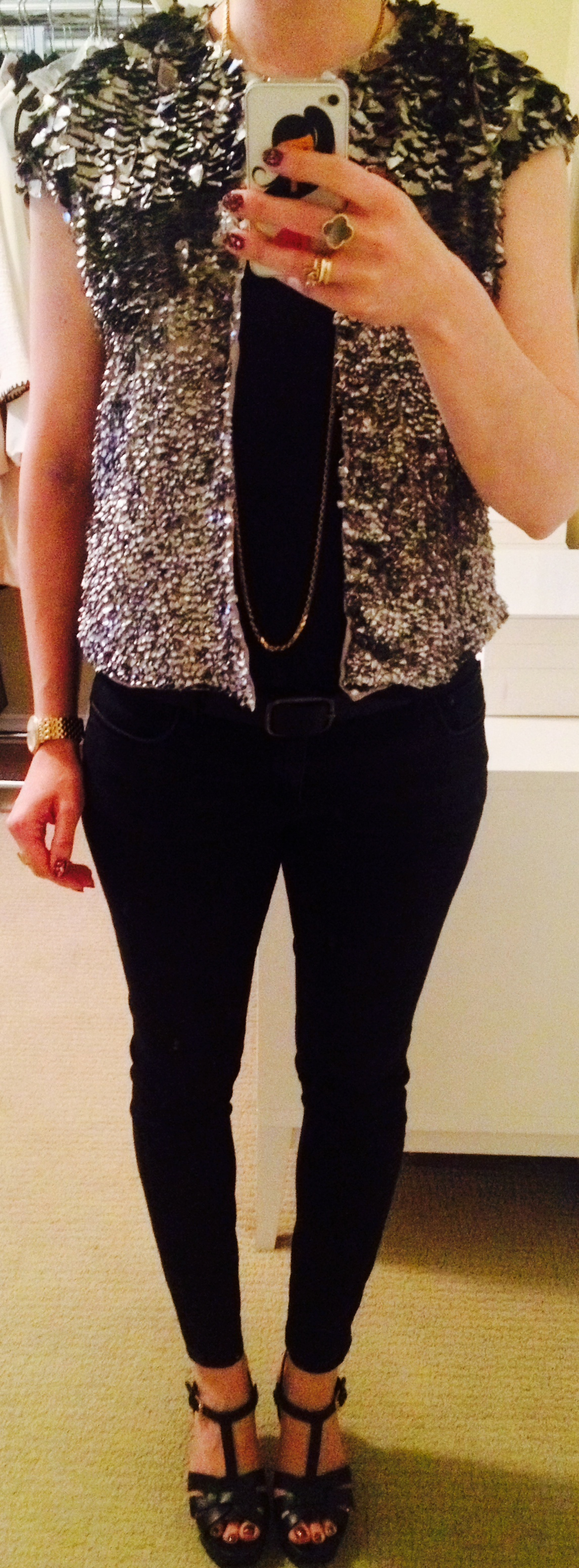 June 21, Saturday night out in a simple tee, skinny jeans and sequin bolero jacket by Zara