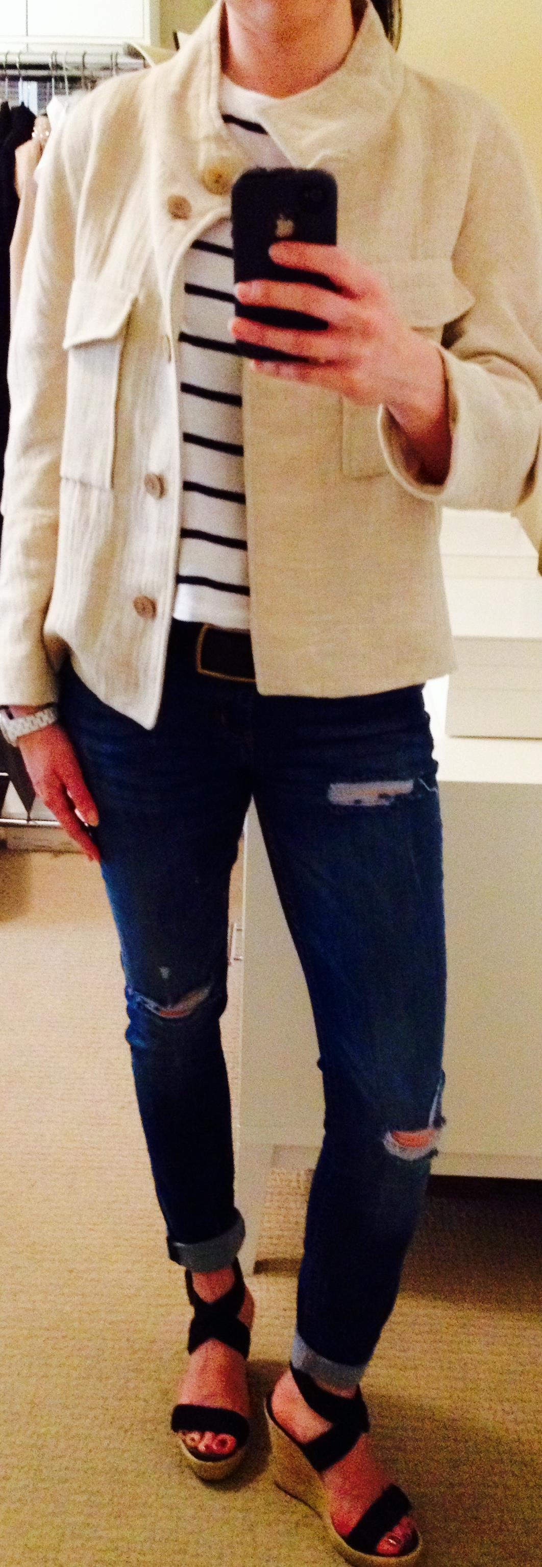 June 28, Weekend Wear in Striped Tee and Linen Zara Jacket