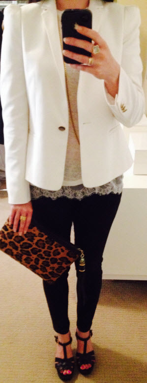 May 13, Linen and Lace Tee with Leopard Clutch