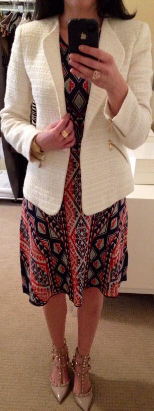 May 20, BCBG knit dress with textured blazer by Zara