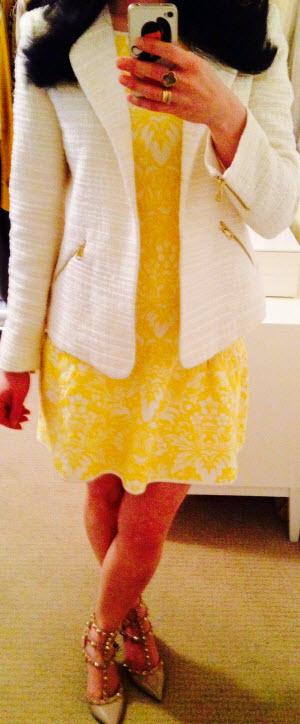 Wearing May 7, BCBG Dress with Zara blazer