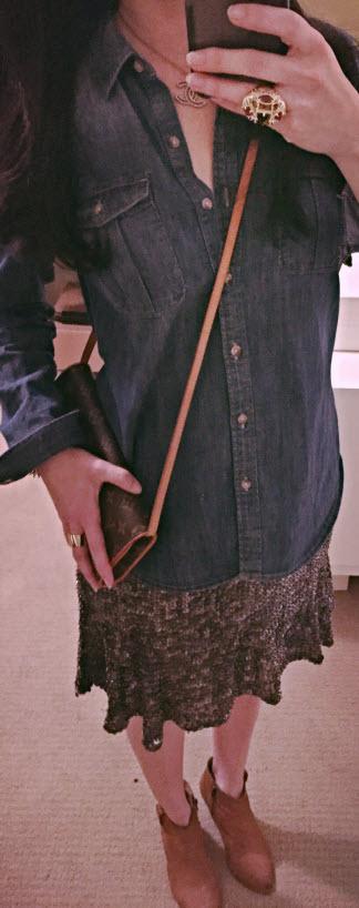 Nov 15, Denim Shirt with Sequin Skirt