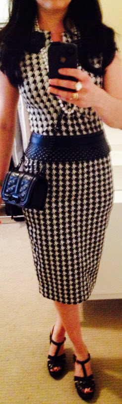 Oct 30, Houndstooth dress with BCBG studded belt