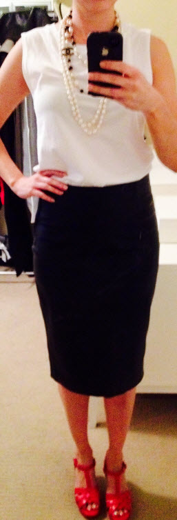 Sept 24, Leather Pencil Skirt with Sleeveless Tee and Chanel Beads