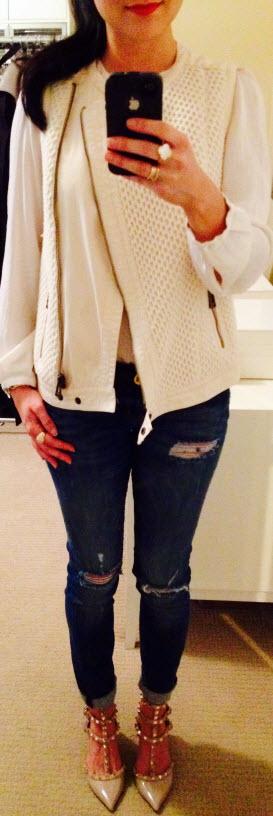 Sept 29, Zara Vest over Cream Blouse with Valentino Rock Studs