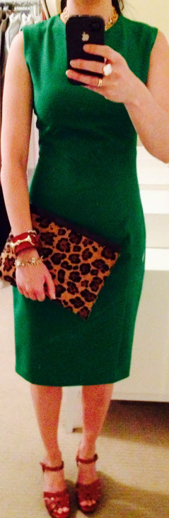 Sept 8, Kelly Green Dress with Leopard Clutch