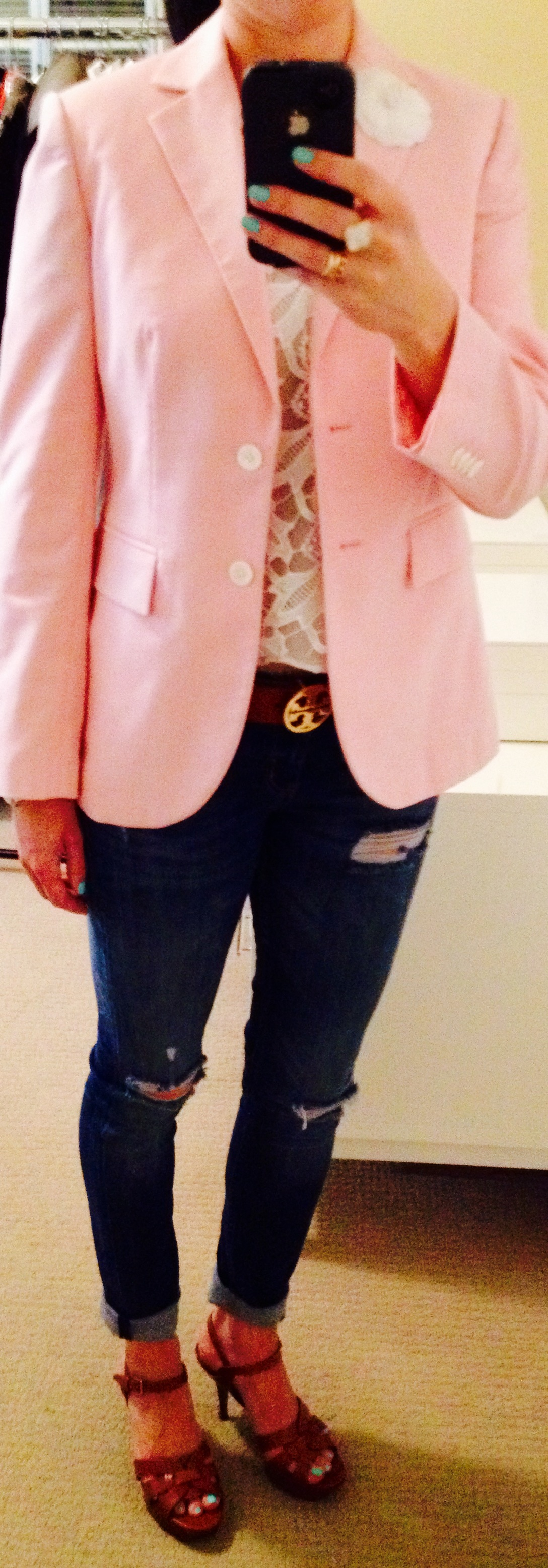 July 31, with Brooks Brother's Pink Linen Blazer