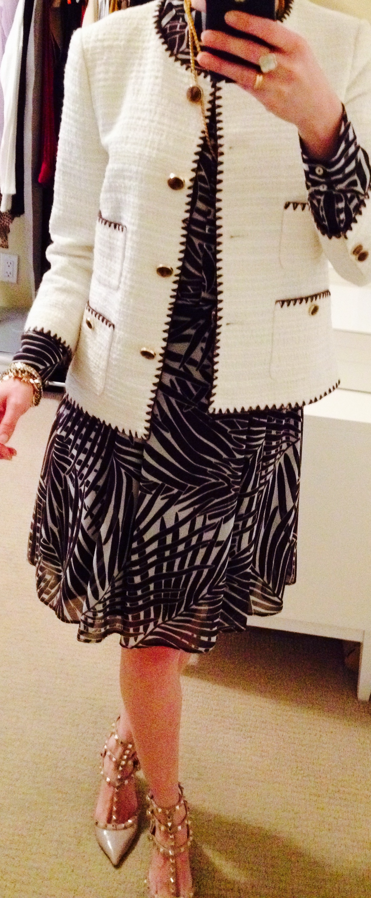Woven Jacket over Palm Print dress