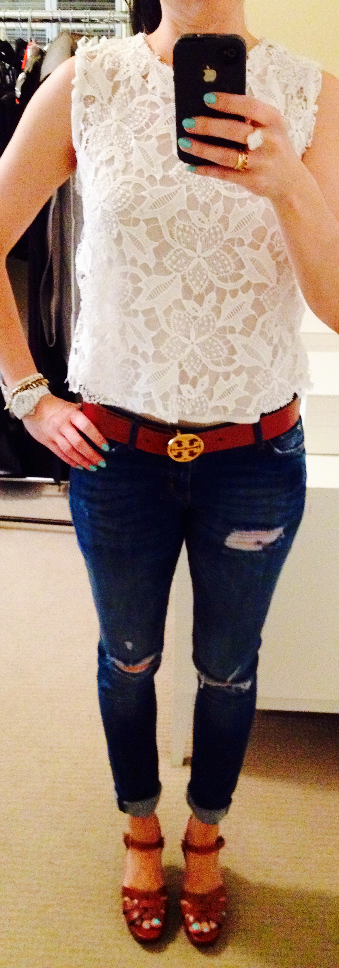 July 31, Lace Top with Tory Burch Belt and distressed denim