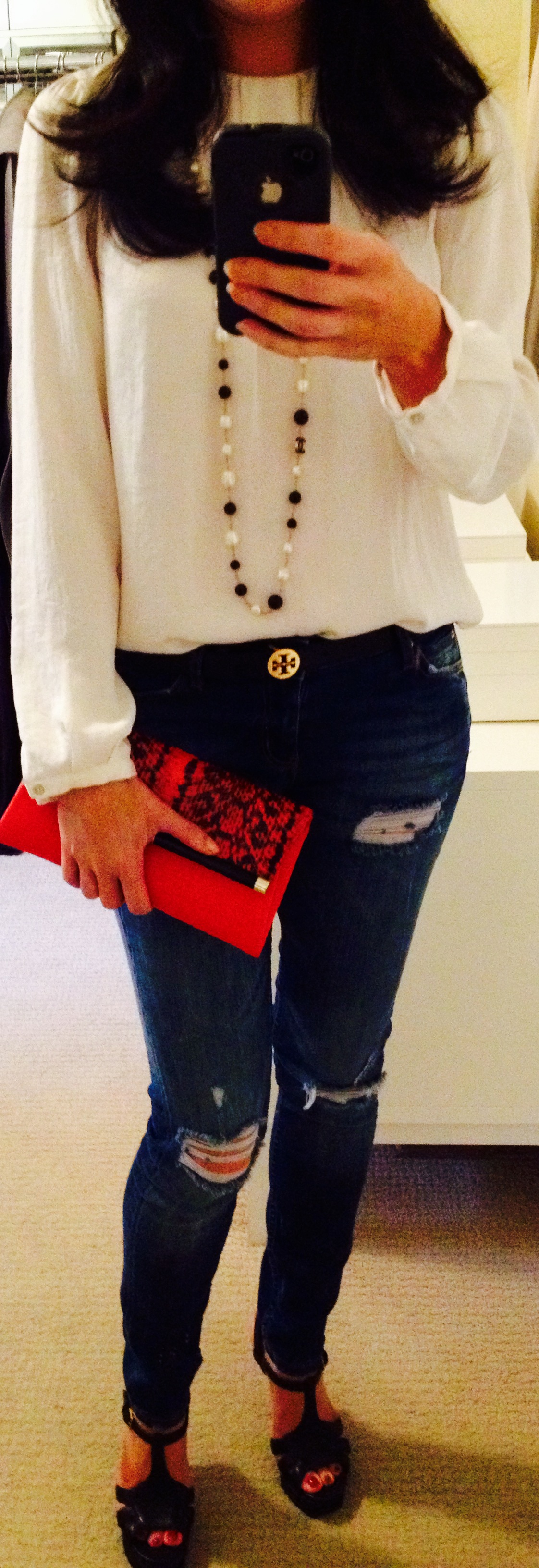 July 21, Cream Blouse with Chanel necklace and Snake Print Clutch by DVF