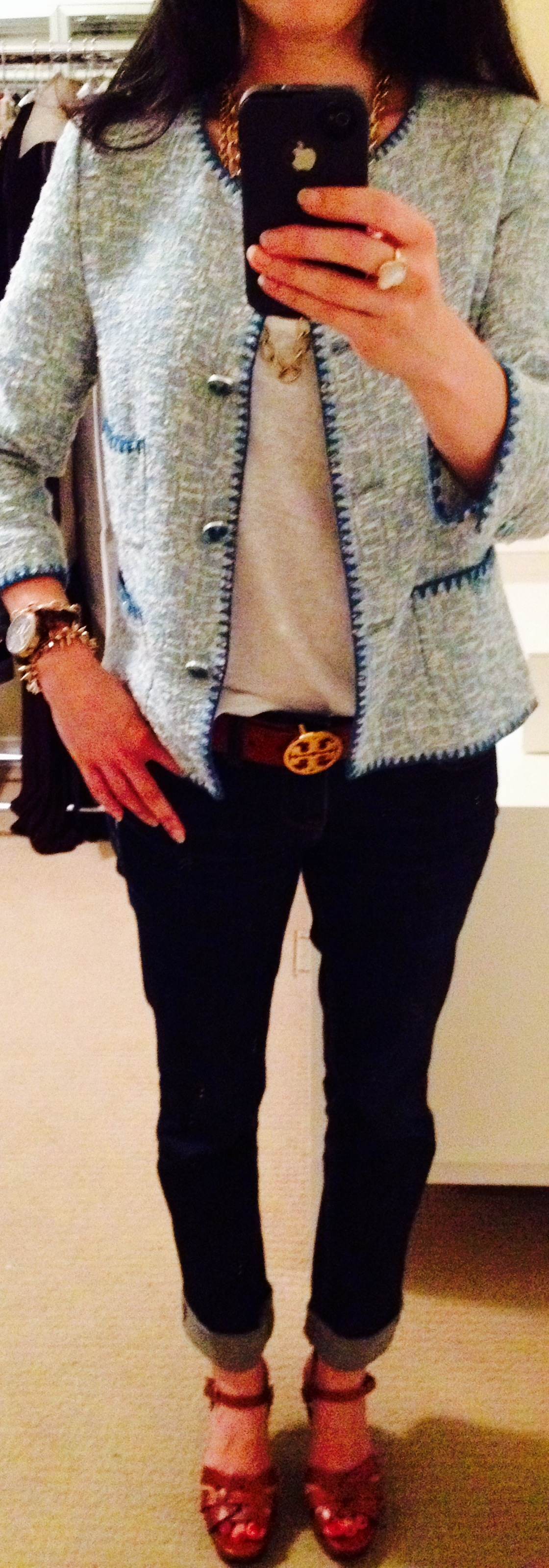 July 17, Textured Jacket with Tory Burch Belt