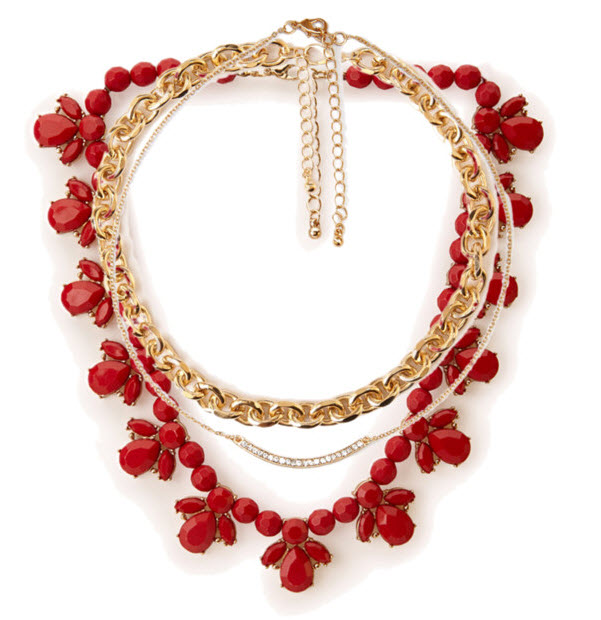 Gold Chains with Red Beads